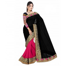 Deals, Discounts & Offers on Women Clothing - Aashvi Creation Black and Pink Georgette Saree