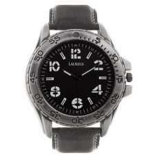 Deals, Discounts & Offers on Electronics - Laurels Lw-Mons-1 Black Leather Analog Watch