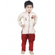 Deals, Discounts & Offers on Kid's Clothing - JBN Creation Beige & Maroon Indo Western
