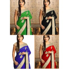 """Deals, Discounts & Offers on Women Clothing - Pick Any 1 """"Designer & Embroidered"""" Georgette Saree"""
