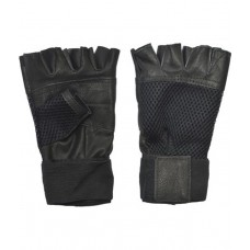 Deals, Discounts & Offers on Sports - Wolphy Black Leather Gym Gloves