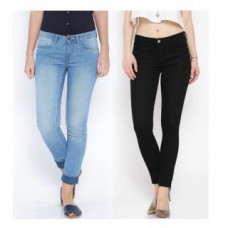 Deals, Discounts & Offers on Women Clothing - Women'S Blue And Black Skinny Jeans