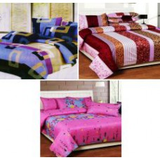 Deals, Discounts & Offers on Home Decor & Festive Needs - Sai Arpan's Set Of 3 Double Bed Sheet Combo