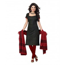 Deals, Discounts & Offers on Women Clothing - Drapes Black Cotton Unstitched Dress Material