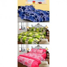Deals, Discounts & Offers on Home Decor & Festive Needs - JBG Home Store set of 3 Cotton Double Bedsheet with 6 Pillow Covers