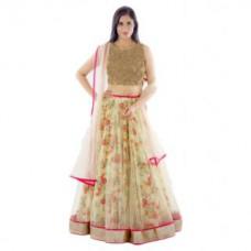 Deals, Discounts & Offers on Women Clothing - Janasya Multicolour Bhagalpuri Silk Printed Wedding Wear Semi-Stiched Lehenga