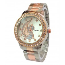 Deals, Discounts & Offers on Women - Sooms Copper Silver Theme Stone Studded Designer Wrist Watch For Women