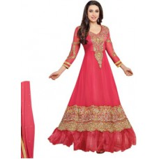 Deals, Discounts & Offers on Women Clothing - Royalfab Georgette Embroidered Semi-stitched Salwar Suit Dupatta Material