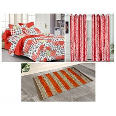 Deals, Discounts & Offers on Furniture - Story @ Home 6 Pcs Combo Of Double Bedsheet Set, Door Curtains & Mat