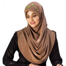 Deals, Discounts & Offers on Women Clothing - Golden Yellow Soft and shiny Polyester Hand work Design Hijab
