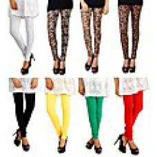 Deals, Discounts & Offers on Women Clothing - Eprilla Combo Of 8 Plain & Printed Women Leggings