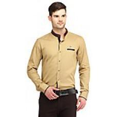 Deals, Discounts & Offers on Men Clothing - Spawn Khaki Cotton Plain Men Formal Shirt