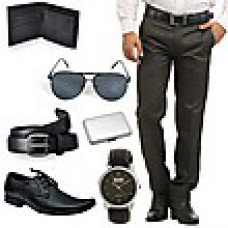 Deals, Discounts & Offers on Men - Stylox Combo Of Trousers And Formal Shoes With Men Accessories