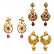 Deals, Discounts & Offers on Earings and Necklace - Donna Combo Of Majestic Gold Plated Three Pair Of Earrings For Women