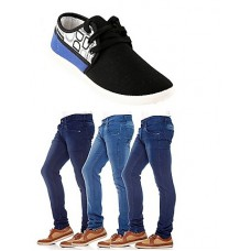 Deals, Discounts & Offers on Men Clothing - Combo Of Bacca Bucci Men Casual Shoes With 3 Denim