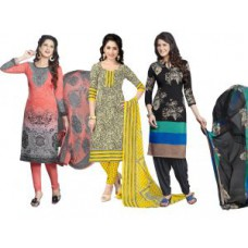 Deals, Discounts & Offers on Women Clothing - Nazaquat Set Of 3 Printed Crepe Unstitched Dress Material