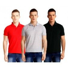 Deals, Discounts & Offers on Men Clothing - Baremoda Red Grey Black Cotton Blended Polo T-shirts