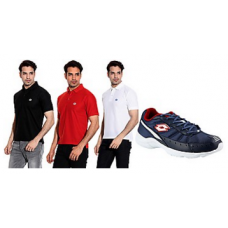 Deals, Discounts & Offers on Men Clothing - Lotto Combo Of Truant Sports Shoes With 3 Polo T Shirts