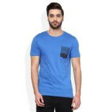 Deals, Discounts & Offers on Men Clothing - United Colors of Benetton Blue Round Neck T Shirt