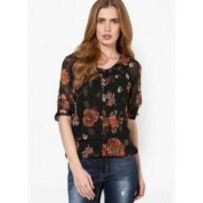 Deals, Discounts & Offers on Women Clothing - Harpa Black Printed Blouse