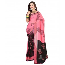 Deals, Discounts & Offers on Women Clothing - Shree Fashion Pink And Black Faux Chiffon Saree