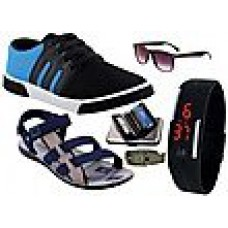Deals, Discounts & Offers on Men - Delux Look 6 In 1 Combo Men Casual Shoes With Sandals & Accessories