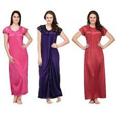Deals, Discounts & Offers on Women Clothing - Oleva Combo Of 3 Satin Nighties
