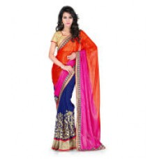 Deals, Discounts & Offers on Women Clothing - Jenny Half N half Exclusive Fancy Designer, Party wear, ready to wear Embroidery work Georgette Sarees