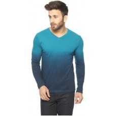 Deals, Discounts & Offers on Men Clothing - Gritstones Embroidered Men's V-neck Blue T-Shirt