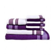 Deals, Discounts & Offers on Home & Kitchen - Vintana White And Purple Cotton Bath Towel - Set Of 10