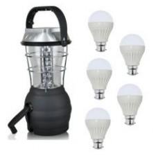 Deals, Discounts & Offers on Home Decor & Festive Needs - Sahara 36 LED Rechargeable Lantern And 12 Watt LED Bulbs 5 PCs Combo