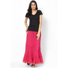 Deals, Discounts & Offers on Women Clothing - Cotton Lehariya Printed Pink Long Skirt By Rajasthani Sarees
