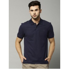 Deals, Discounts & Offers on Men Clothing - Marks & Spencer Solid Men's Polo Neck Dark Blue T-Shirt