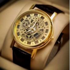 Deals, Discounts & Offers on Men - Brown Strap Golden Dial Skeleton Watch For Men