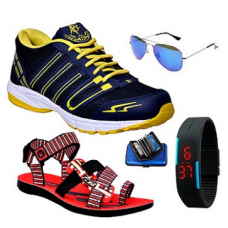 Deals, Discounts & Offers on Men Clothing - ABZ Combo Of Navy Blue Men Sports Shoes With Sandals And Accessories @ Rs.998/-