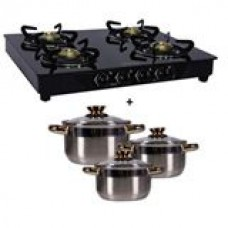 Deals, Discounts & Offers on Home & Kitchen - Sunflame 4 Burner + Pococinna 6 pcs induction cookware set + Ilo manual juicer + Joyo 5 pcs cook and serve set