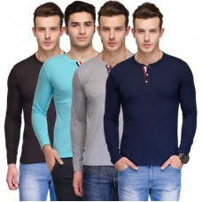 Deals, Discounts & Offers on Men Clothing - TSX Solid Men's Henley Multicolor T-Shirt - Pack of 4
