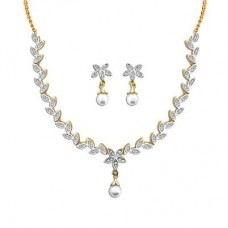 Deals, Discounts & Offers on Earings and Necklace - Dg Jewels Gold Plated Floral Pearl Necklace Set