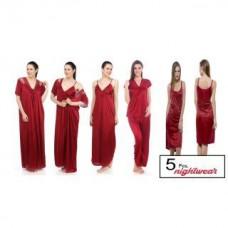 Deals, Discounts & Offers on Women Clothing - Maroon Satin Lycra Nighty - Set of 5