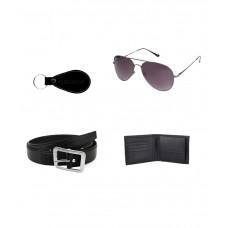 Deals, Discounts & Offers on Men - Gledati Black Combo Of Belt Wallet and Sunglass