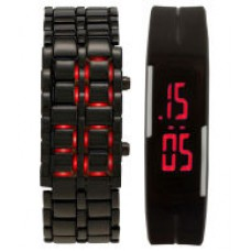 Deals, Discounts & Offers on Baby & Kids - Krupa Enterprise Black and Silver Digital Watch - Pack of 2