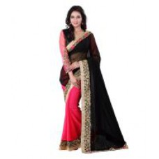 Deals, Discounts & Offers on Women Clothing - Neerja Fashion Black-Pink Georgette Saree