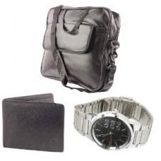Deals, Discounts & Offers on Men - Men's Laptop Bag, Wallet & Watch - Fidato Combo