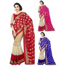 Deals, Discounts & Offers on Women Clothing - Thankar Georgette & Rasal Net Saree