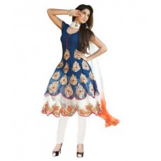 Deals, Discounts & Offers on Women Clothing - Embroidery Work Georgette Morepank Design Anarkali Suit