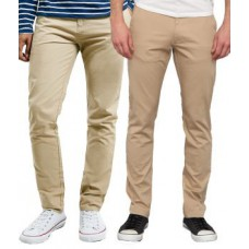Deals, Discounts & Offers on Men Clothing - Merakapda Beige & Khaki Strechable Causal Trouser -  set of 2