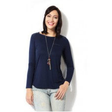 Deals, Discounts & Offers on Women Clothing - People Casual Full Sleeve Solid Women's Dark Blue Top