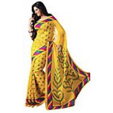 Deals, Discounts & Offers on Women Clothing - Thankar Yellow Printed Designer Saree