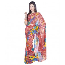 Deals, Discounts & Offers on Women Clothing - Variation Multicoloured Georgette Saree