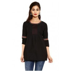 "Deals, Discounts & Offers on Women Clothing - Aaboli Black Cambric Women""s Short Kurti"